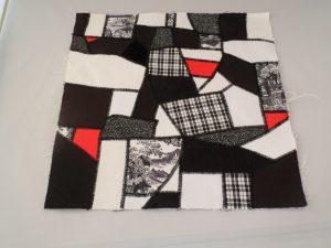 crazy patchwork with machine stitching