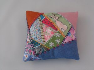 crazy patchwork pin cushion