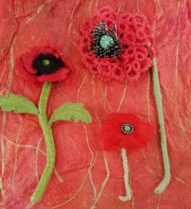 3 Poppies on Silk Paper