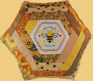 Bee Cushion with Log Cabin Patchwork