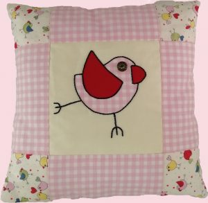 Bird Cushion - Applique and Patchwork