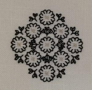 Blackwork flower posy on linen