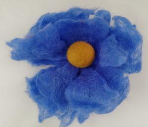 Blue Felt Brooch