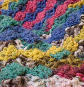 colourful example of corner to corner crochet