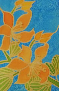 Orange Silk Painted Flowers