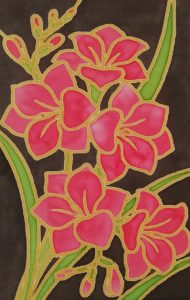 Pink Silk Painted Flowers