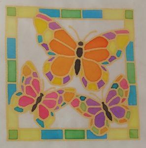 Silk Painting - 3 Butterflies