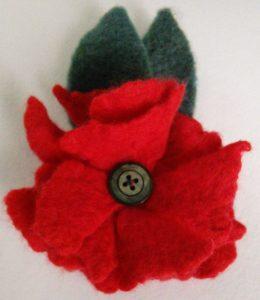 Wet felted poppy brooch